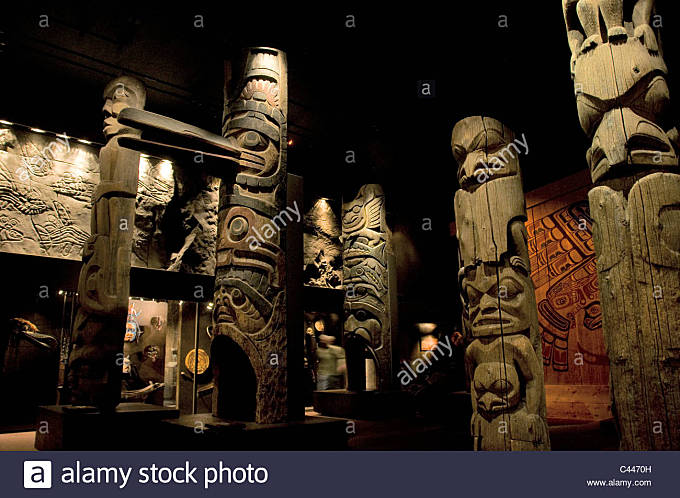 Totems, Royal BC Museum, Victoria, British Columbia, Canada, showroom, North America, exhibition, museum, wooden, - Stock Image