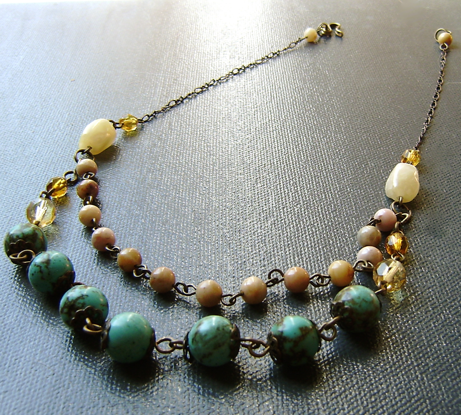 turquoise, and jasper brass necklace