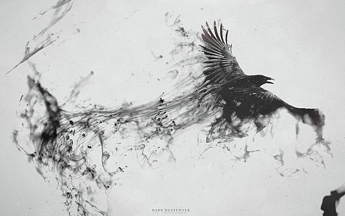 abstract animal animals artistic artwork bird birds black-white creativity crow dark digital-art
