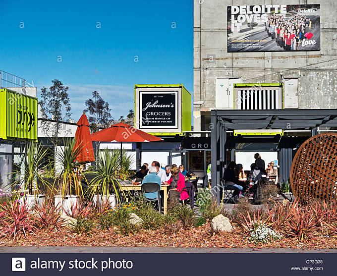 Cafe at Christchurch Container Mall, New Zealand. - Stock Image