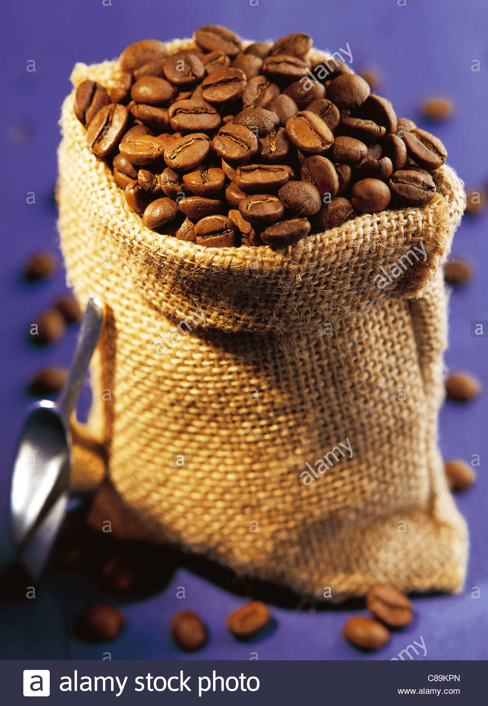 Bag of coffee beans - Stock Image
