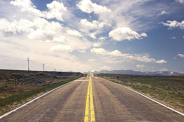 street, road, horizon