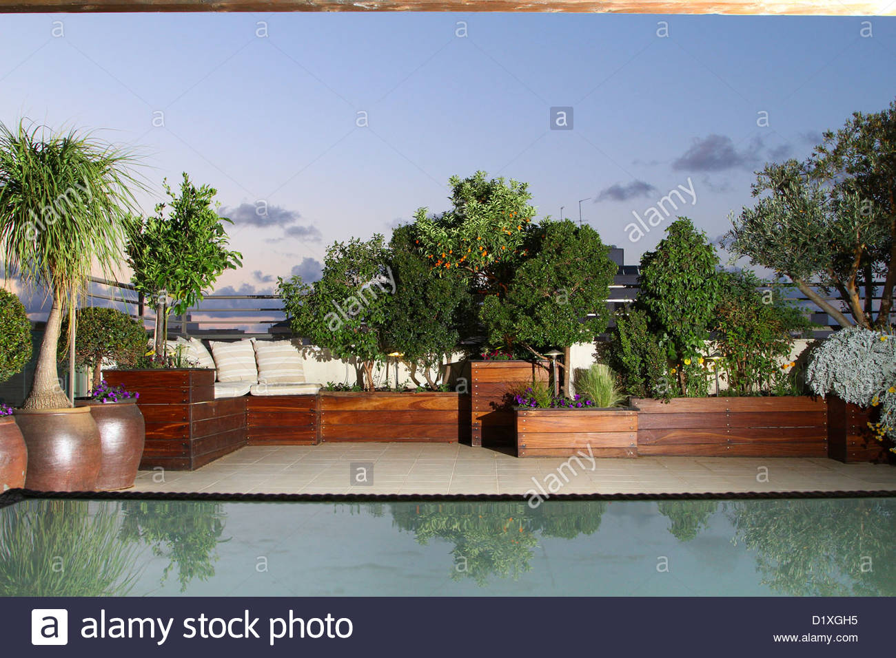 A penthouse roof garden - Stock Image