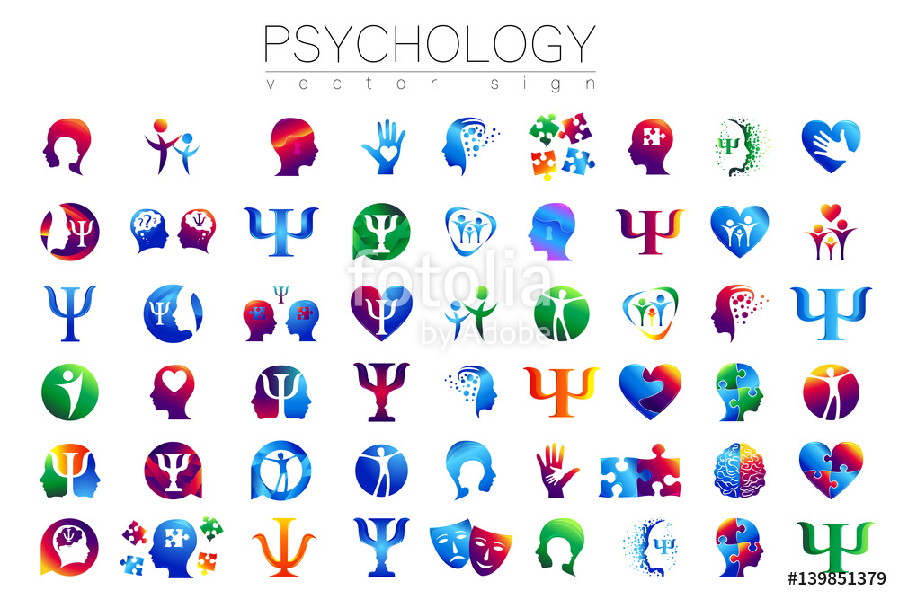 Vector: Modern head sign Set of Psychology. Profile Human. Creative style. Symbol in vector. Design concept. Brand company. Green orange blue violet color isolated on white background. Icon for web, print