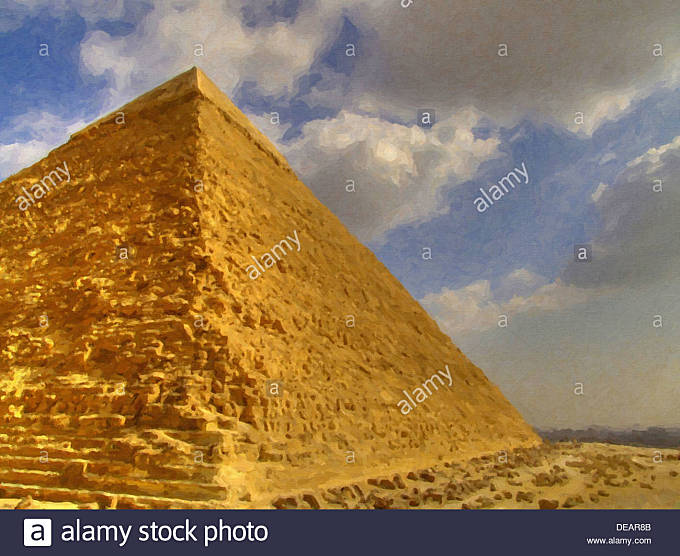 A digital painting of one of the great pyramids of giza with a smog covered cairo in the background - Stock Image