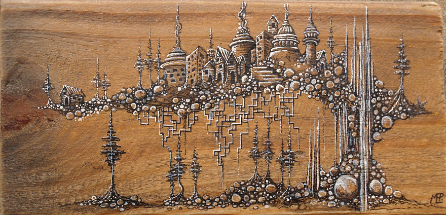 Fantasy Illustrations On Wood