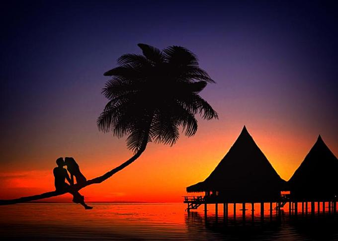 Romantic couple kissing in love