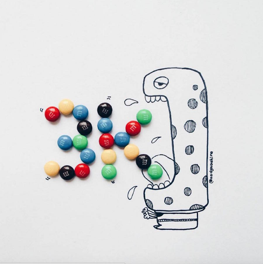Cartoon Illustrations completed with Childhood Sweets