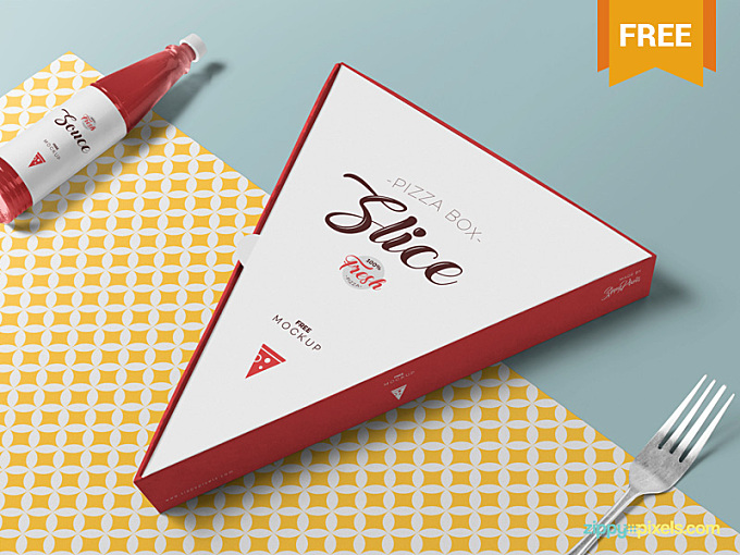 Use this box mockup and present your packaging designs in a unique look. This slice box mockup also offers a sauce bottle to showcase your designs. Just add designs, adjust the shadings and produce a powerful presentation much swiftly. Please Click Here To Download This Free Pizza Slice Box Mockup Press L to share some love :)