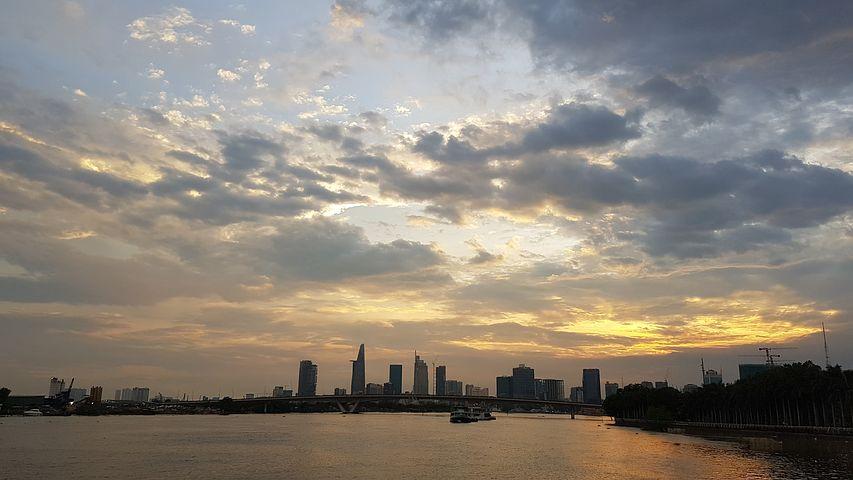 日出, 河, 城市, 天空, 景观, 风景, 光