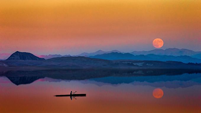 man,  canoe,  sunset,  moon,  dark,  red,  orange,  lake,  river,  water,  calm,  still,  chill