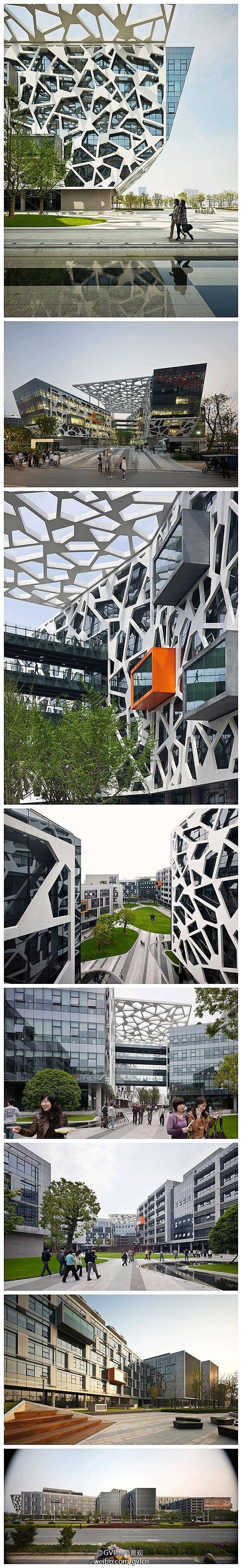 阿里巴巴杭州新园区已成为中国现代办公建筑的典范。项目采用园区式布局,办公空间设计成积极绿色的环境,员工中心、室内和室外街道、廊桥、屋顶露台,还有精心布置的驻足地点,都被设计到园区之中以营造协作氛围。区内醒目而统一的中国特色冰花玻璃窗图案外屏,正是意在表现江南园林的环境特征。
