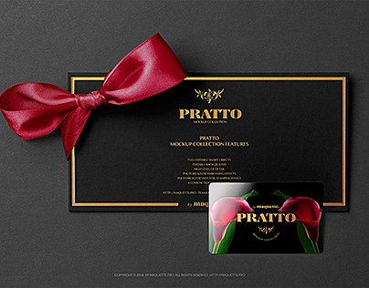 Gift Card on Black Invitation Card with a Bow Knot Mock