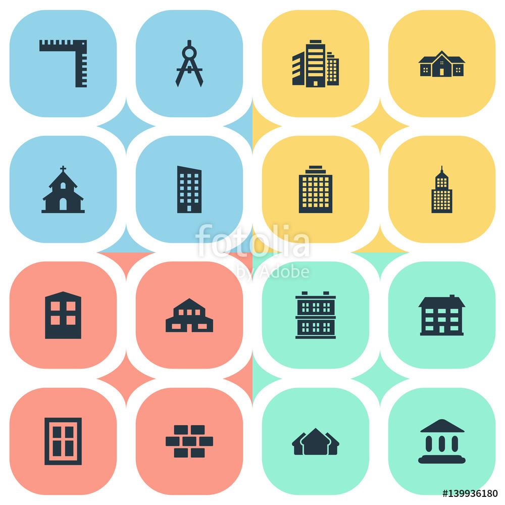 Vector: Vector Illustration Set Of Simple Construction Icons. Elements Stone, Residential, Offices And Other Synonyms Building, Residence And Superstructure.