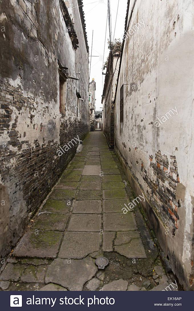 ancient narrow lane in Fengjing, Shanghai, China - Stock Image