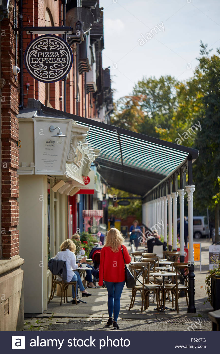 Cafe bar culture on West Didsbury Lapwing Lane   Restaurant dining food eating eating drinking  out date menu restaurateur - Stock Image