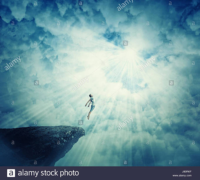 Young boy astral travel, mystical rapture state psychokinesis condition. Magic soul energy show human illusion. - Stock Image