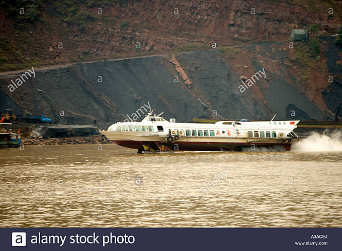 Hydrofoil operating on Yangtze River,  China - Stock Image
