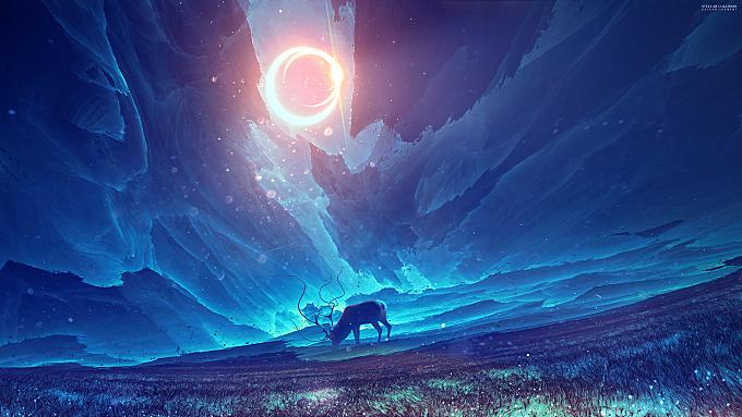 3d-fractal|abstract|animals|artwork|concept-art|deer|digital-art|elk|fantasy|fantasy-art|field|kuldar-leement