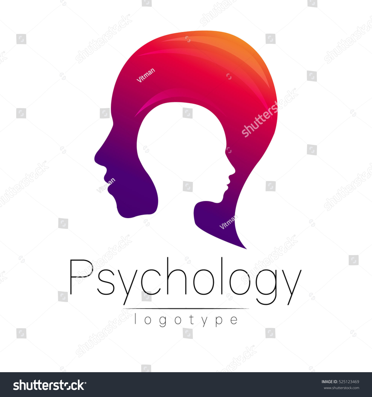 Modern head logo of Psychology. Profile Human. Creative style. Logotype in vector. Design concept. Brand company. Violet red color isolated on white background. Symbol for web, print, card. Keyhole