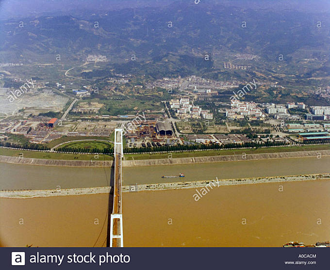 Three Gorges Dam on Yangtze River - Stock Image