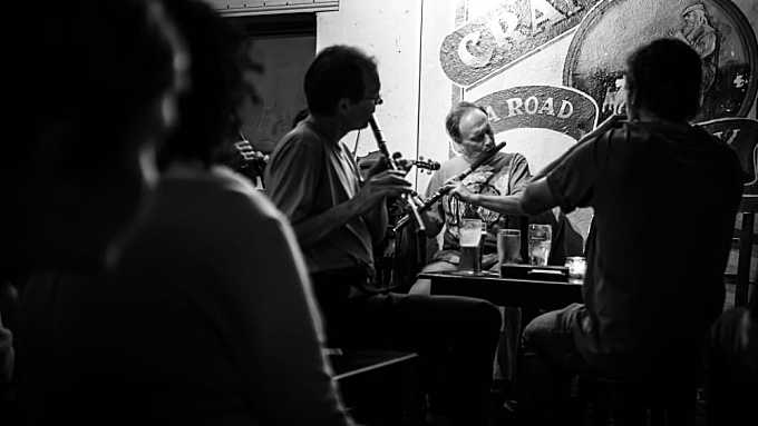 Irish pub music - Galway, Ireland - Black and white photography