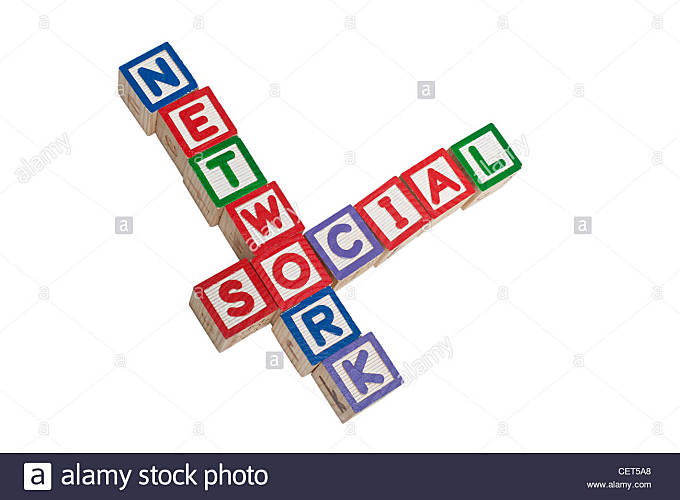 Toy blocks forming the words Social Network isolated on white background - Stock Image