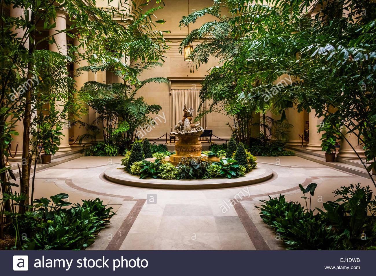 Indoor garden area in the National Gallery of Art in Washington, DC. - Stock Image