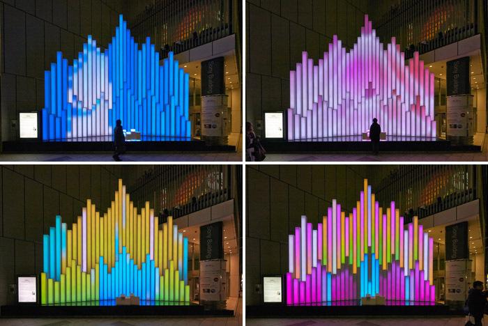 这个水晶音乐雕塑安装在日本东京银座索尼大厦的索尼广场上。属于索尼公司每年慈善活动