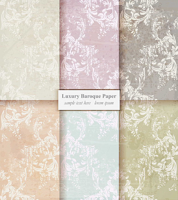 Vintage paper damask pattern, baroque grunge background
