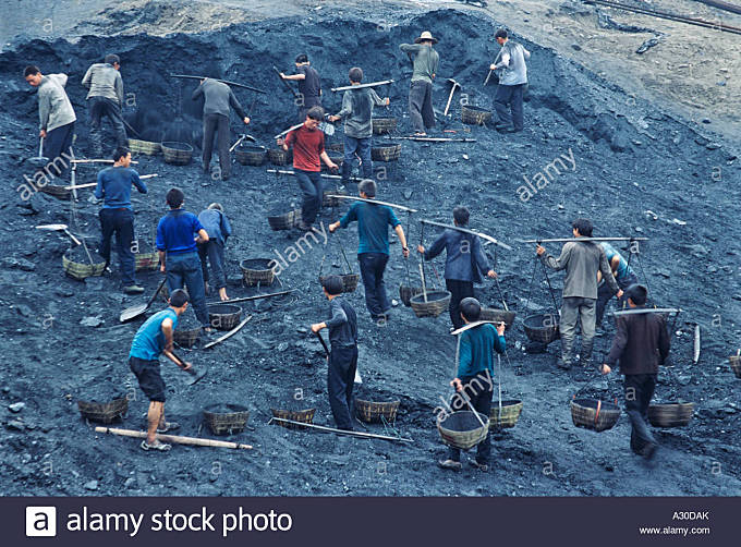 Coal mining along the Three Gorges of the Yangtze River Wushan County Chongqing China - Stock Image