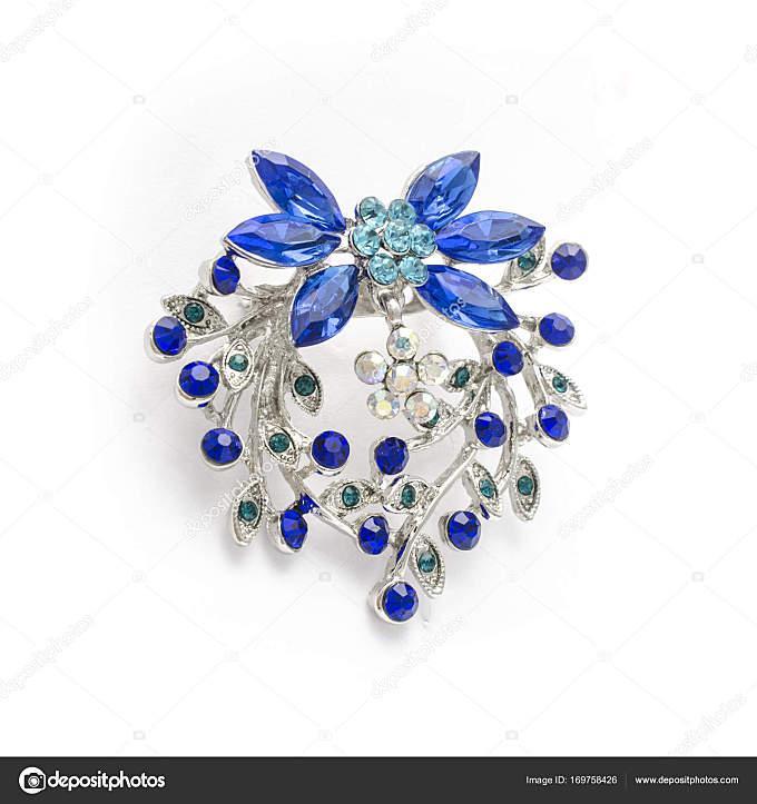 与白色衬底上分离出的蓝钻石银胸针