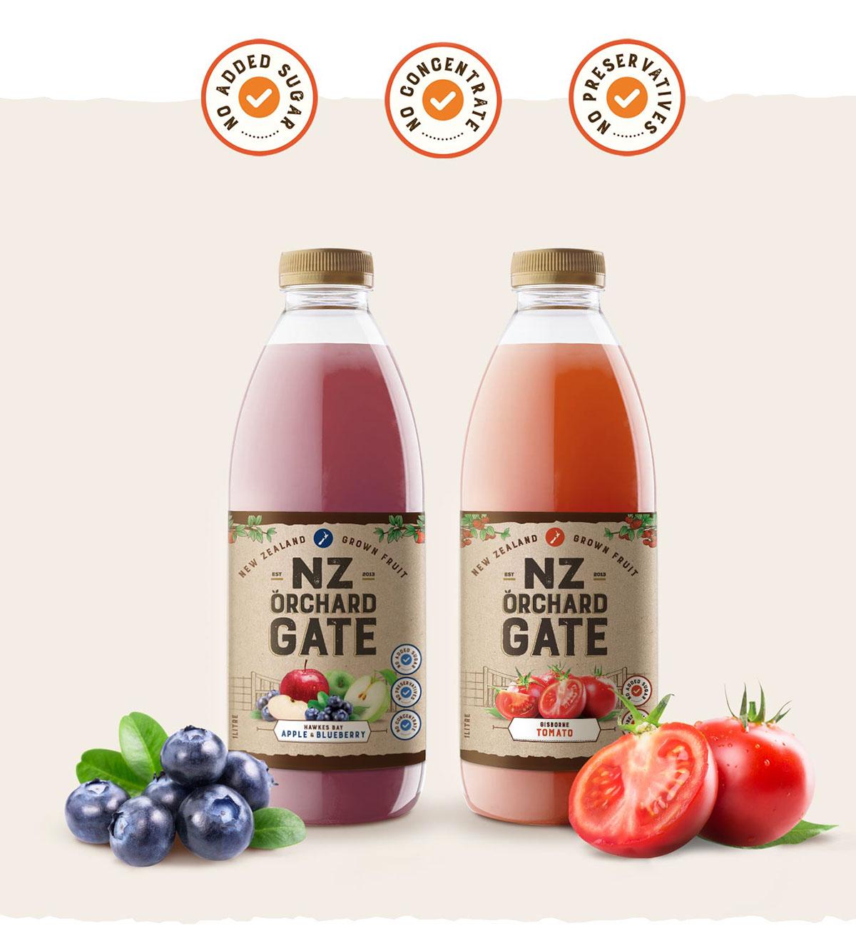 NZ Orchard Gate Juice - Rebranding & Packaging