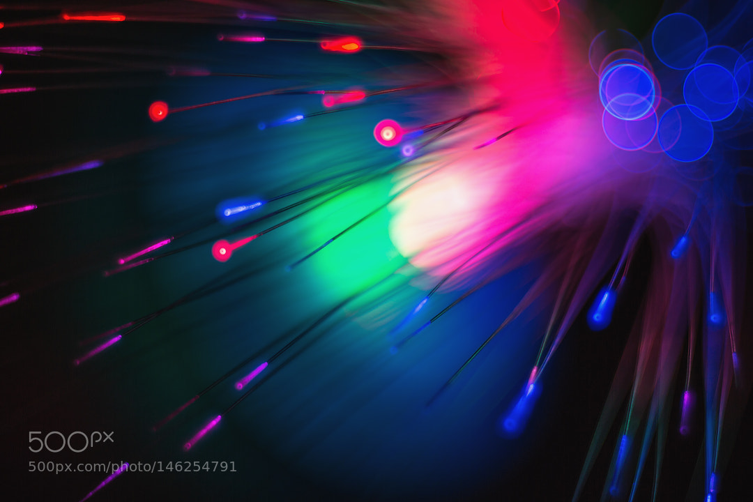 Defocused bokeh lights: optic fiber close-up