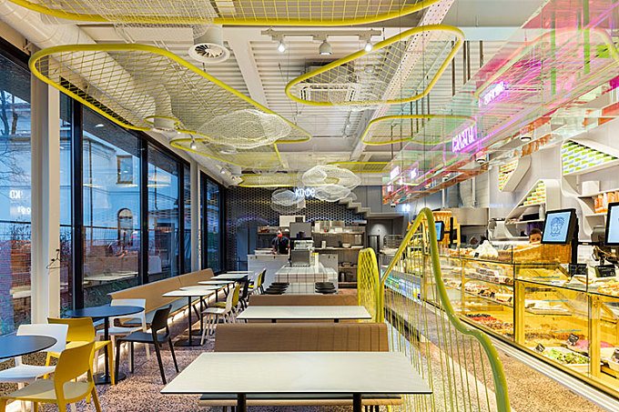A Moscow Cafe by V12 Architects Literally Glows in the Dark