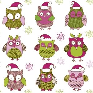 cartoon christmas owl pattern Logo