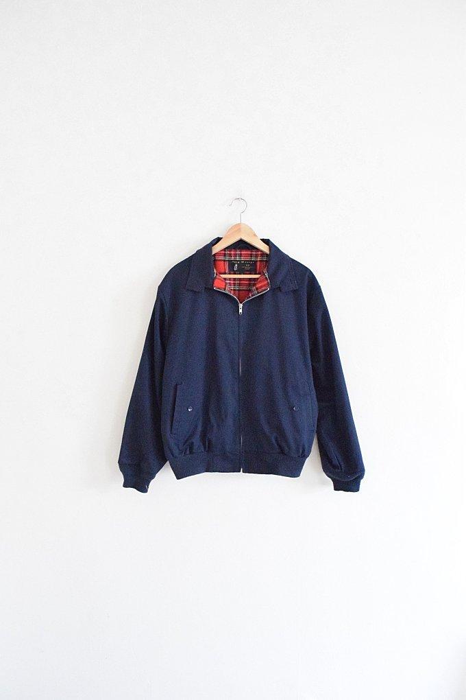 ENGLISH OUTDOORS JACKET    size mens large    80s    blue    lightweight coat    plaid lining    classic    minimal    preppy    vintage!