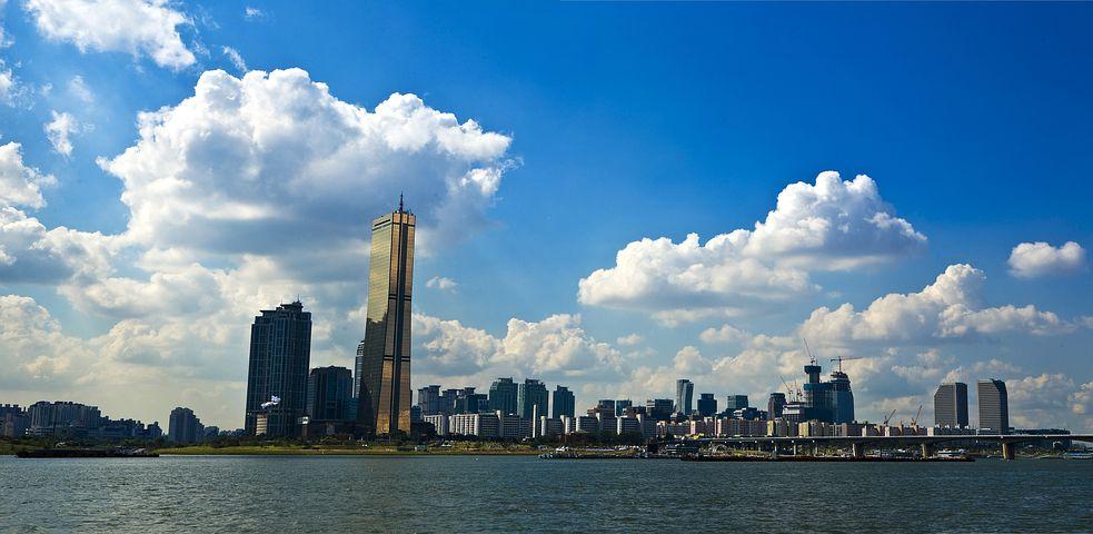 风光, 汉河, 汉城, 天空, 河, 云, 建筑, 城市, 水