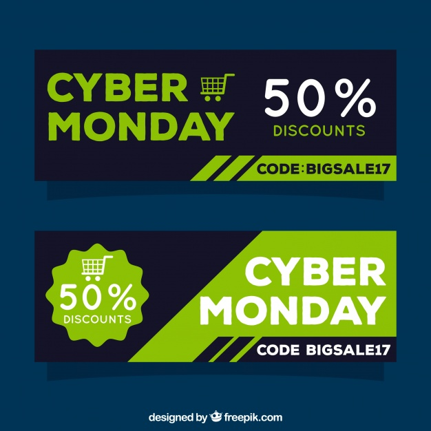 Abstract sales cyber monday banners