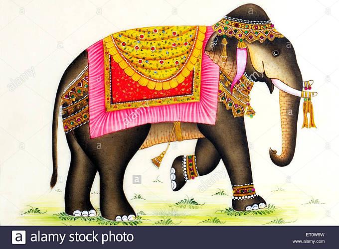 Painting of elephant India - msa 175779 - Stock Image