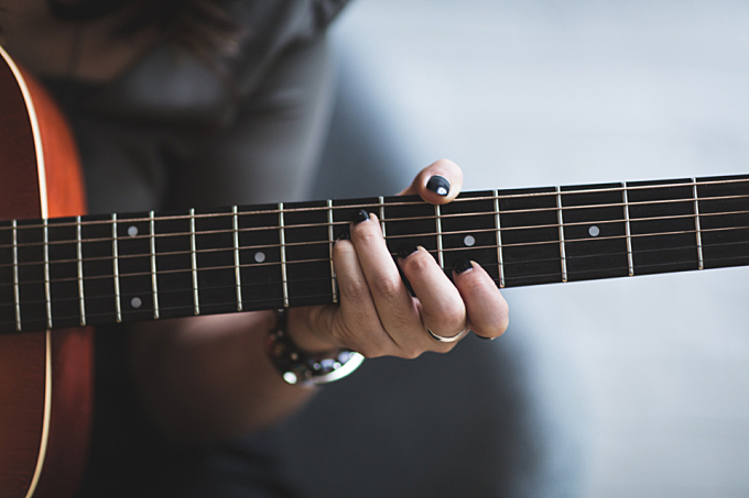 woman,   playing,  guitar,  nails,  female,  girl,  musician,  black,  string,  cords
