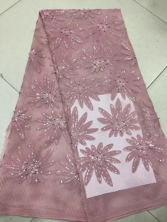 5yards New off white/blue/green/pink/red 9color pearls beaded on net yarn embroidery wedding dress/evening dress lace fabric