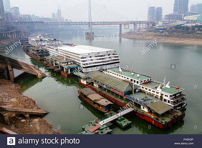 Chongqing, China - The view of Chaotianmen wharf, one of the most importent wharf of Changjiang river. - Stock Image