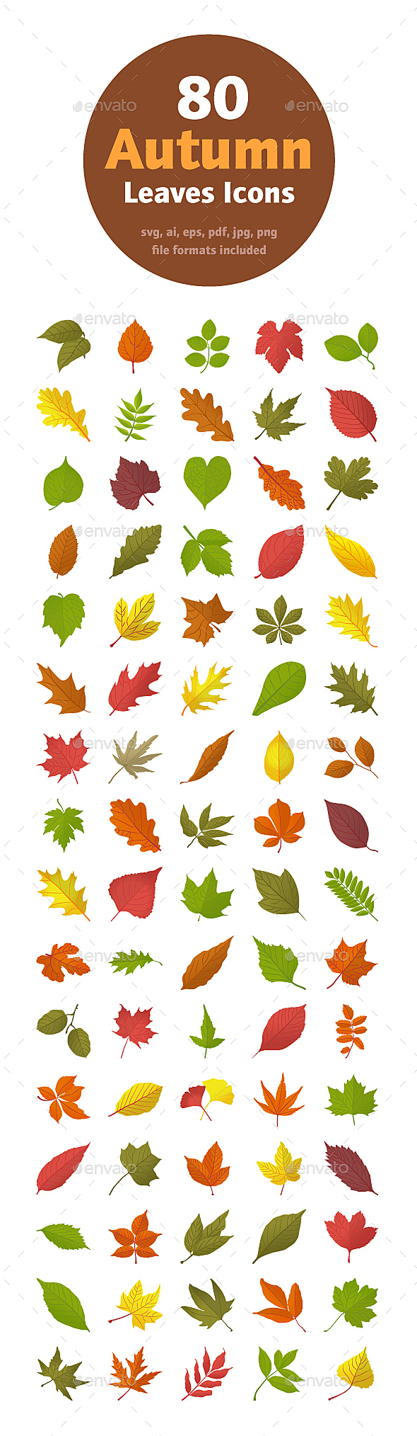 This colorful autumn leaves icons pack is offering various kinds of tree leaves usually seen in autumn season. A wonderfully designed set of colorful vectors having foliage leaves, dried leaves, fresh leaves of different structures. In this pack, you can find almost every kind of tree leaves, their specie and biological name such as birch leaf, aspen leaves, maples, sorbus americana, oak, elm and so on. If you are having subjects related to botany or havig garden projects, you must hold this pack and utilize it in best way.   ai, eps, pdf, jpg, png, svg files included transparent png files included in 48×48, 64×64, 128×128, 256×256, 512×512