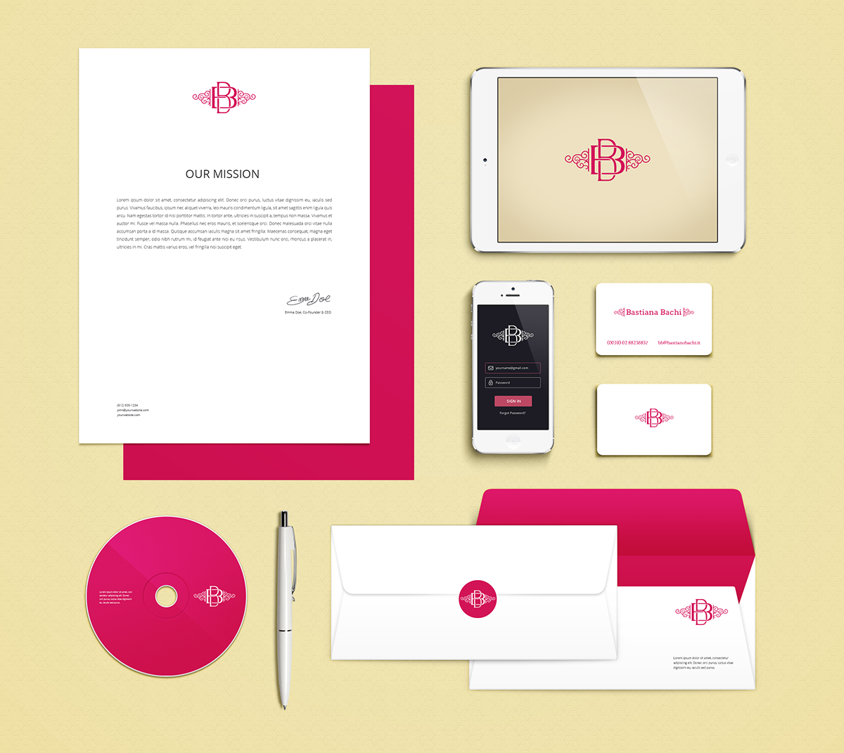 BB  - logo, businnes card and stationary