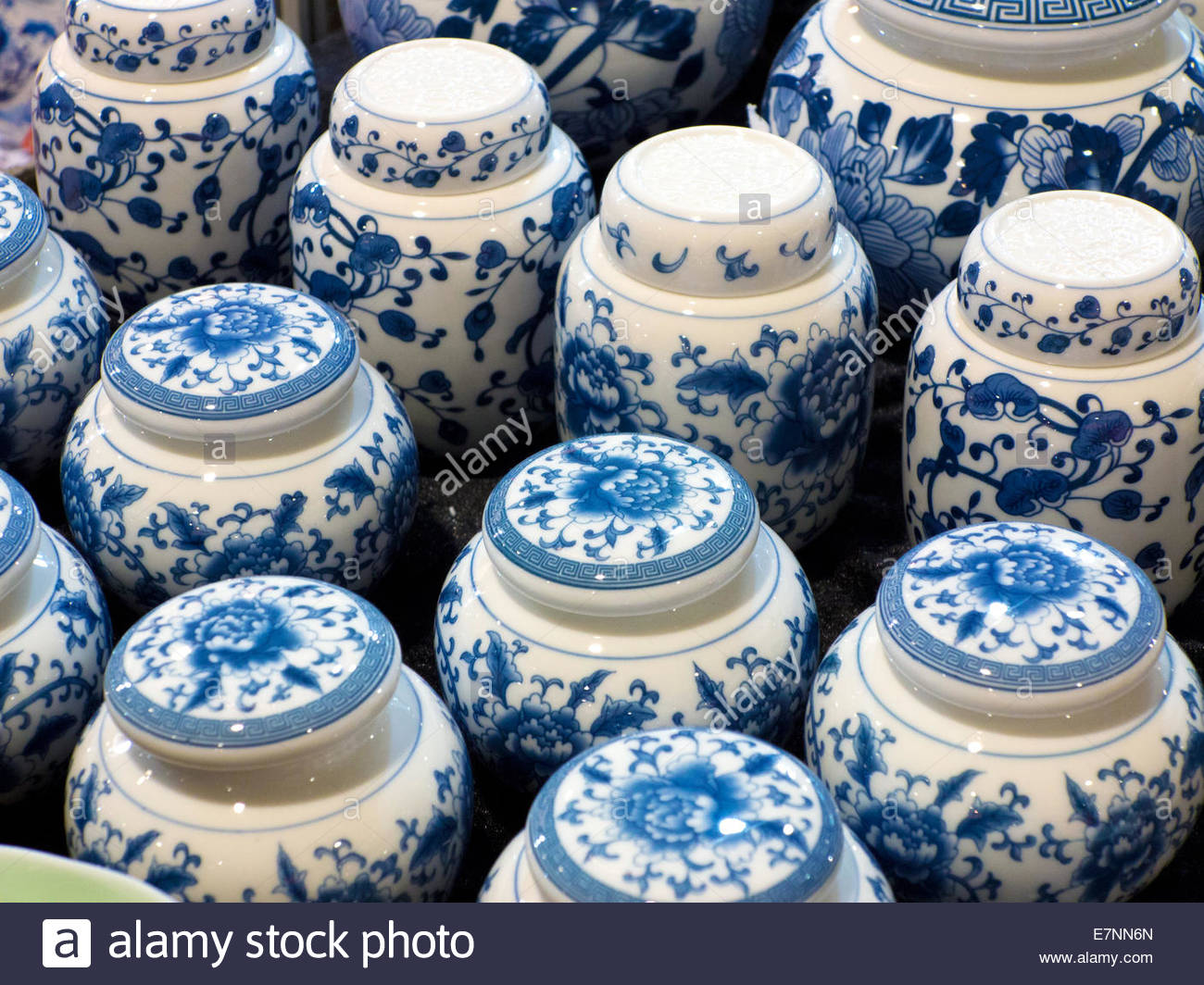 Close-up of blue and white porcelain jars - Stock Image