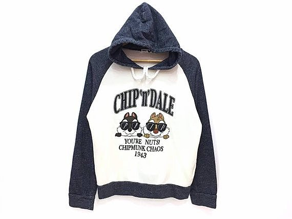 Rare!! Chip And Dale Funny Cartoon Spellout Pullover Jumper Sweater Hoodie