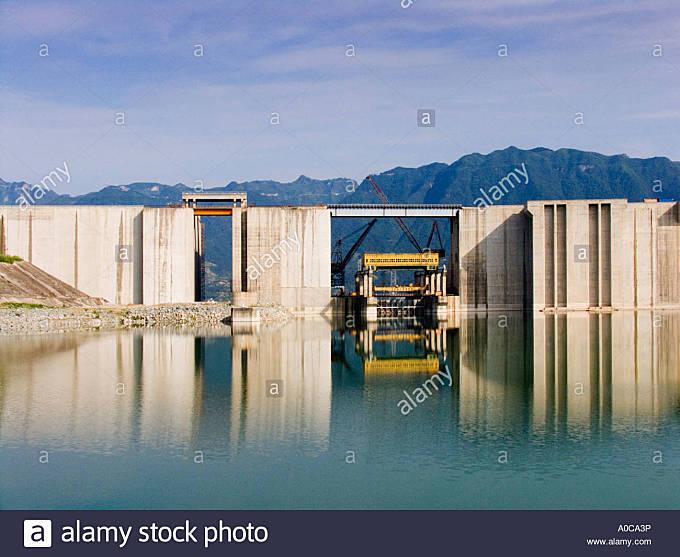 Three Gorges Dam on Yangtze River - Stock Image