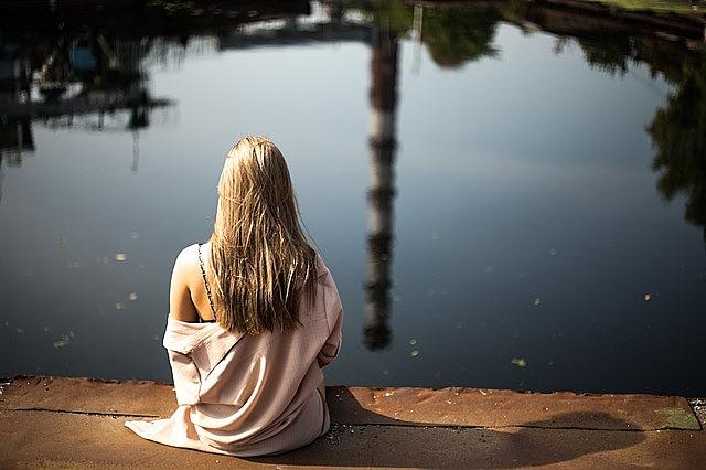 girl, blonde, sitting