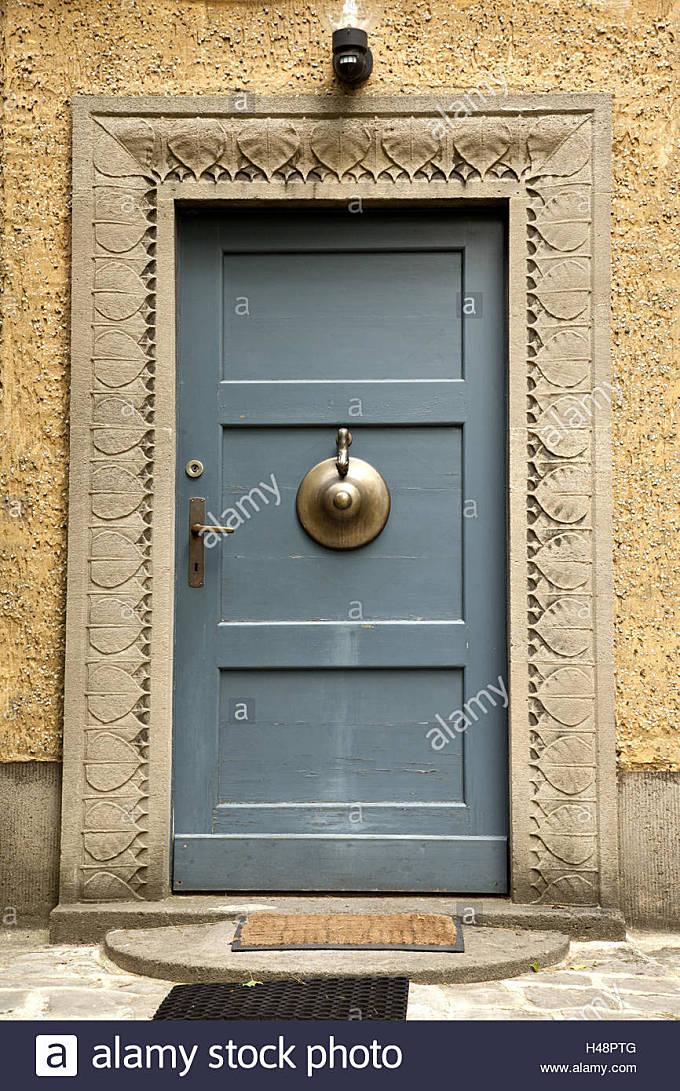 Front door, Buddhism, Berlin, - Stock Image